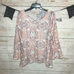 Style&Co Paisley Asymmetric Knit Top Bell Sleeve L